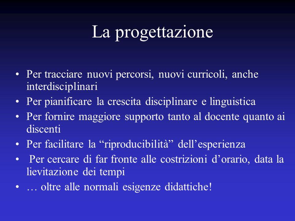 La progettazione Per tracciare nuovi percorsi, nuovi curricoli, anche interdisciplinari. Per pianificare la crescita disciplinare e linguistica.