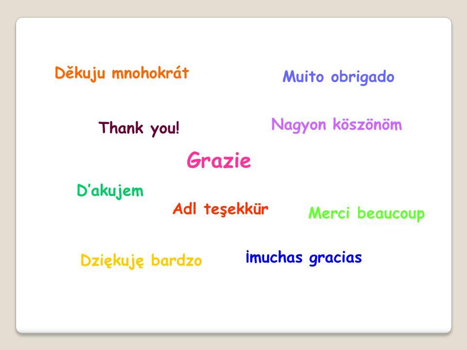 Grazie Děkuju mnohokrát Muito obrigado Nagyon köszönöm Thank you!
