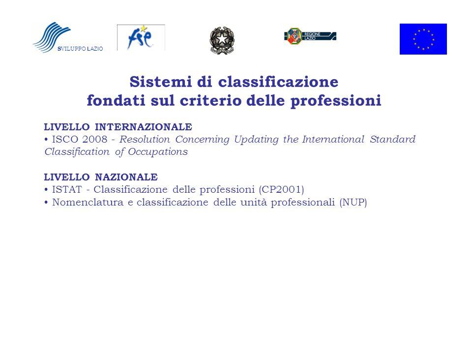 Sistemi di classificazione fondati sul criterio delle professioni