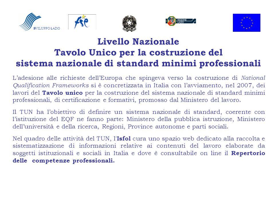SVILUPPO LAZIO Livello Nazionale Tavolo Unico per la costruzione del sistema nazionale di standard minimi professionali.