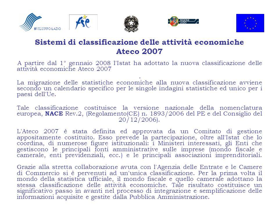 Sistemi di classificazione delle attività economiche Ateco 2007
