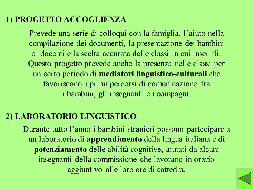 1) PROGETTO ACCOGLIENZA 2) LABORATORIO LINGUISTICO