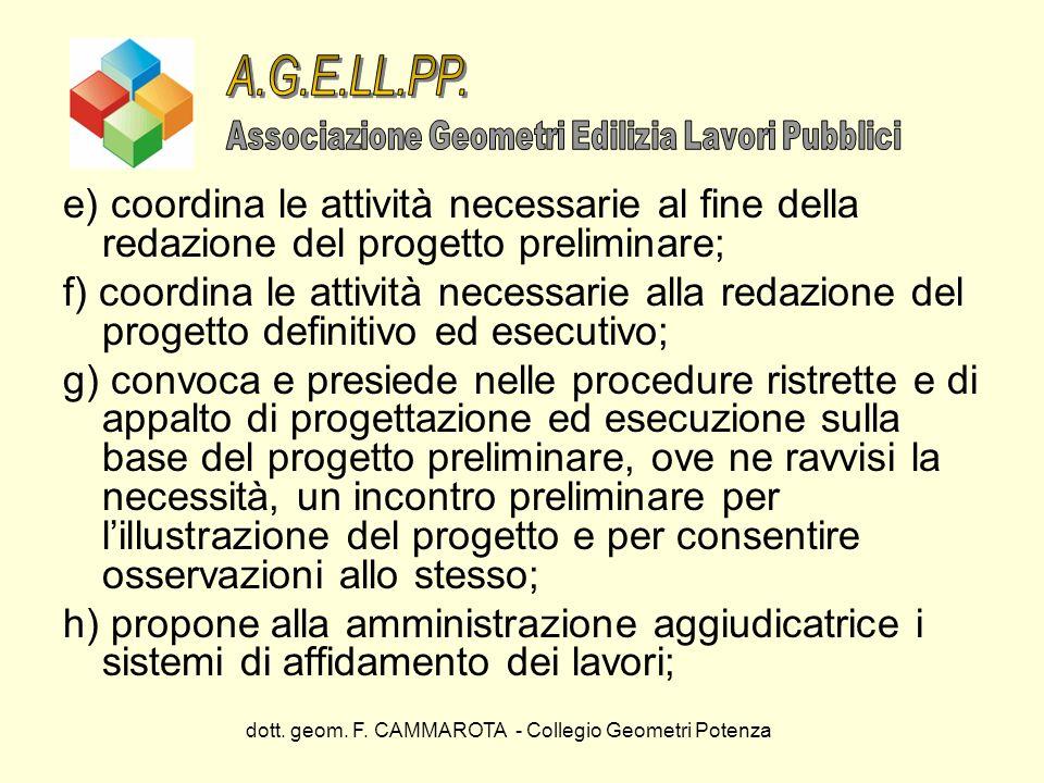 A.G.E.LL.PP. Associazione Geometri Edilizia Lavori Pubblici. e) coordina le attività necessarie al fine della redazione del progetto preliminare;