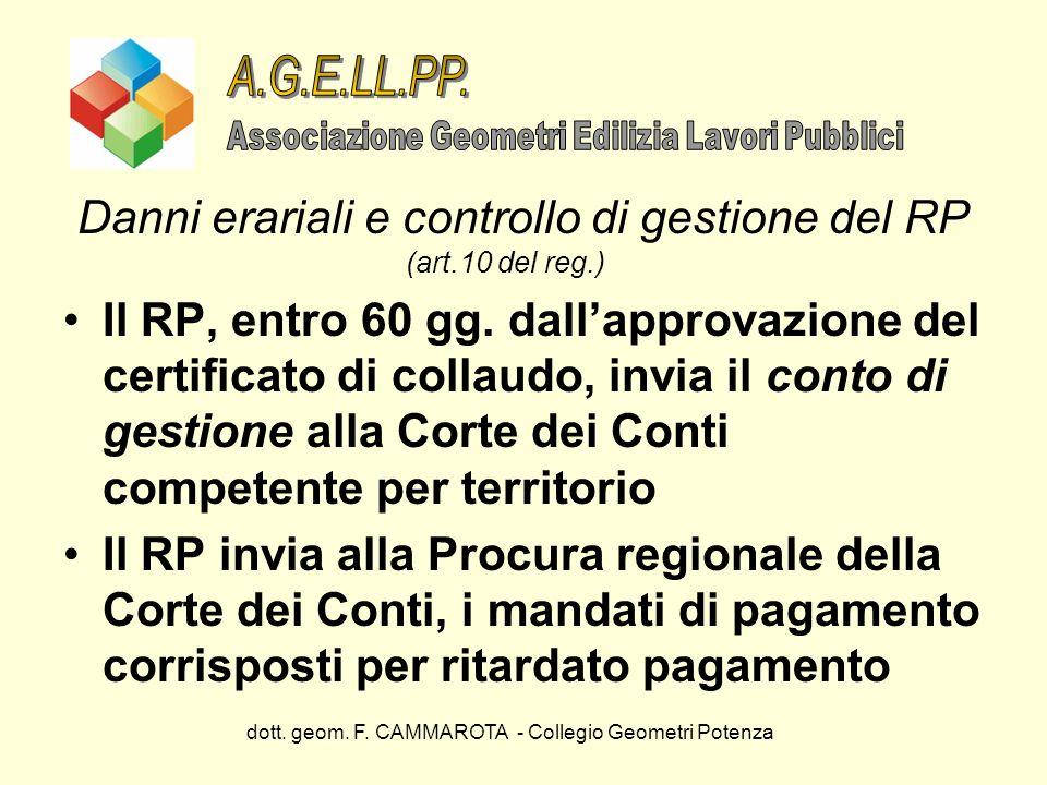 A.G.E.LL.PP. Associazione Geometri Edilizia Lavori Pubblici. Danni erariali e controllo di gestione del RP (art.10 del reg.)
