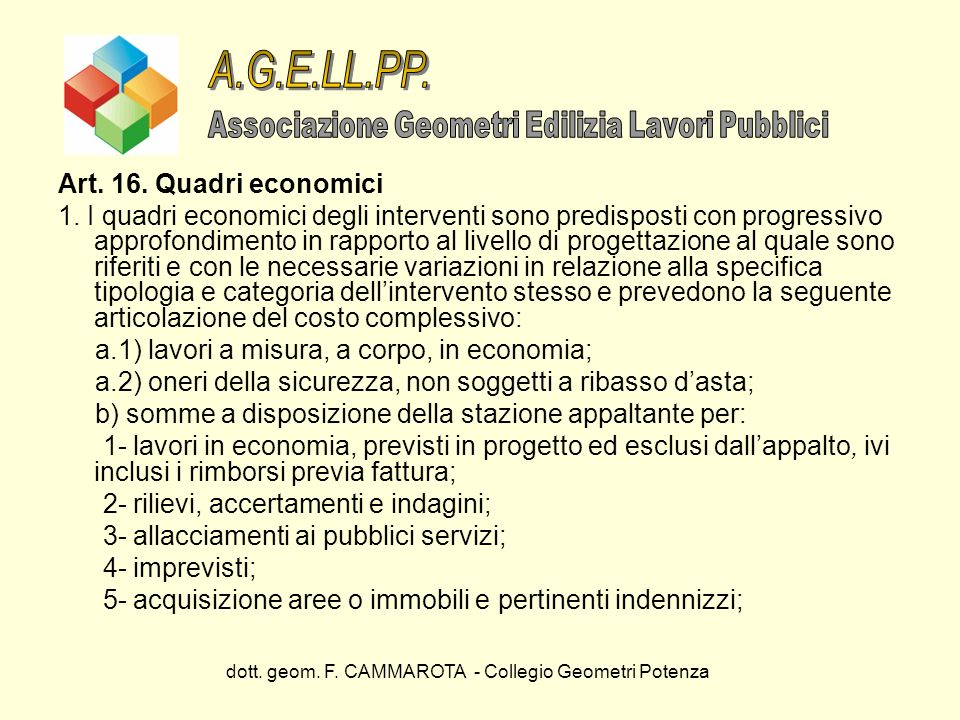 A.G.E.LL.PP. Art. 16. Quadri economici