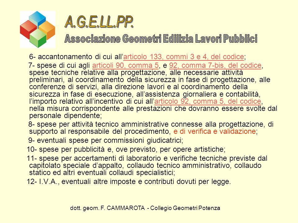 A.G.E.LL.PP. Associazione Geometri Edilizia Lavori Pubblici. 6- accantonamento di cui all'articolo 133, commi 3 e 4, del codice;