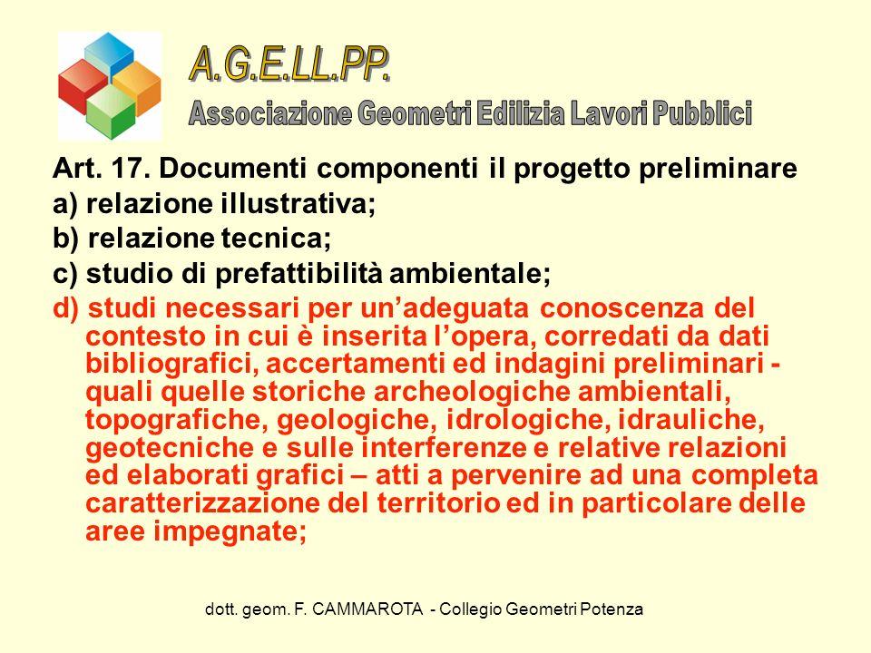 A.G.E.LL.PP. Art. 17. Documenti componenti il progetto preliminare