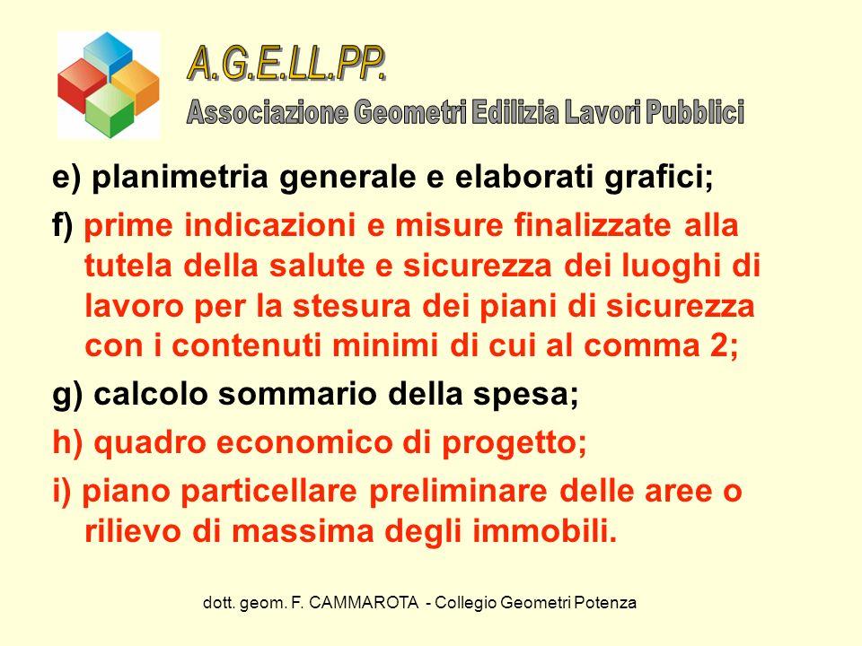 A.G.E.LL.PP. e) planimetria generale e elaborati grafici;