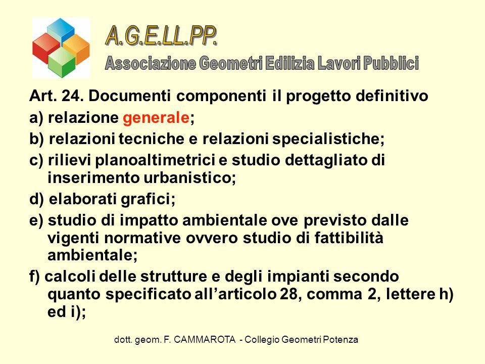 A.G.E.LL.PP. Art. 24. Documenti componenti il progetto definitivo