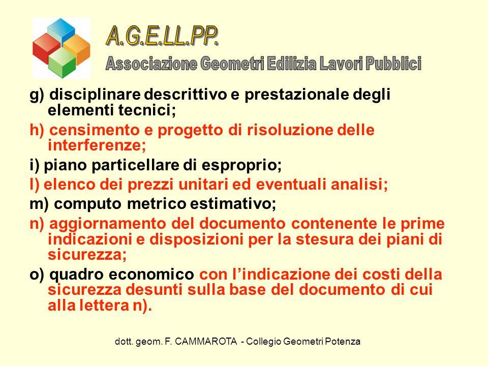 A.G.E.LL.PP. Associazione Geometri Edilizia Lavori Pubblici. g) disciplinare descrittivo e prestazionale degli elementi tecnici;