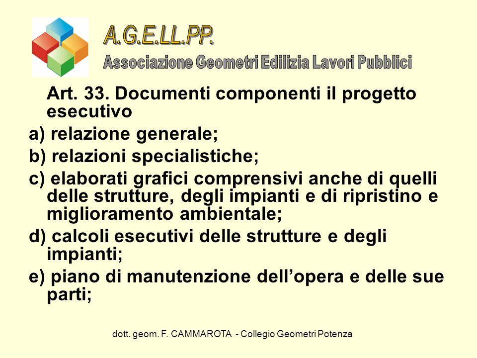 A.G.E.LL.PP. Art. 33. Documenti componenti il progetto esecutivo