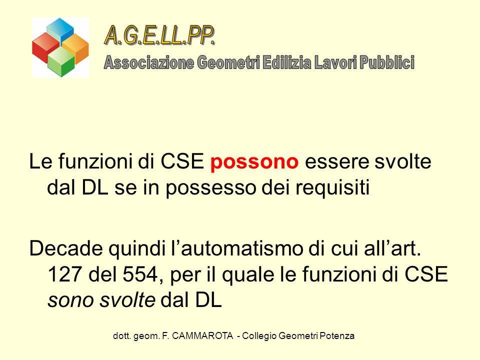 A.G.E.LL.PP. Associazione Geometri Edilizia Lavori Pubblici. Le funzioni di CSE possono essere svolte dal DL se in possesso dei requisiti.
