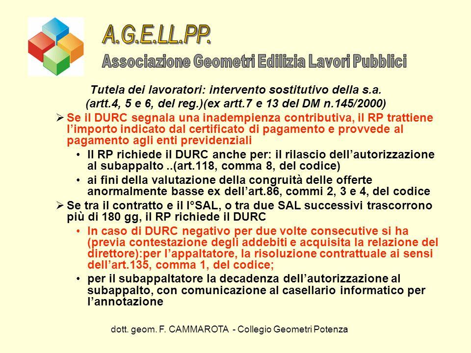 A.G.E.LL.PP. Tutela dei lavoratori: intervento sostitutivo della s.a.