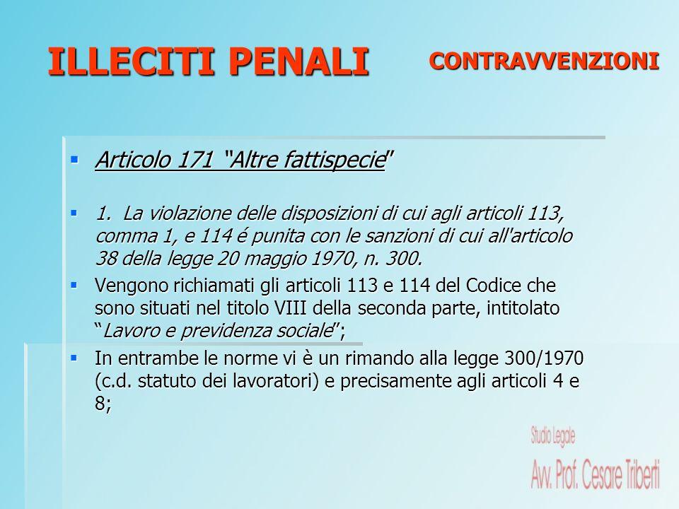 ILLECITI PENALI CONTRAVVENZIONI Articolo 171 Altre fattispecie