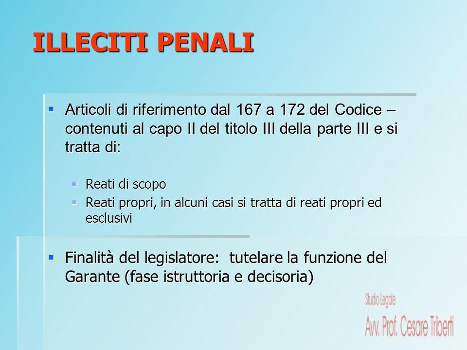 ILLECITI PENALI Articoli di riferimento dal 167 a 172 del Codice – contenuti al capo II del titolo III della parte III e si tratta di: