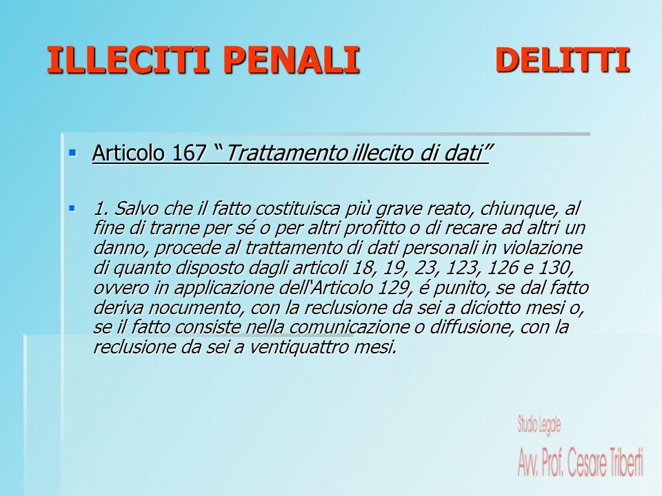 ILLECITI PENALI DELITTI Articolo 167 Trattamento illecito di dati