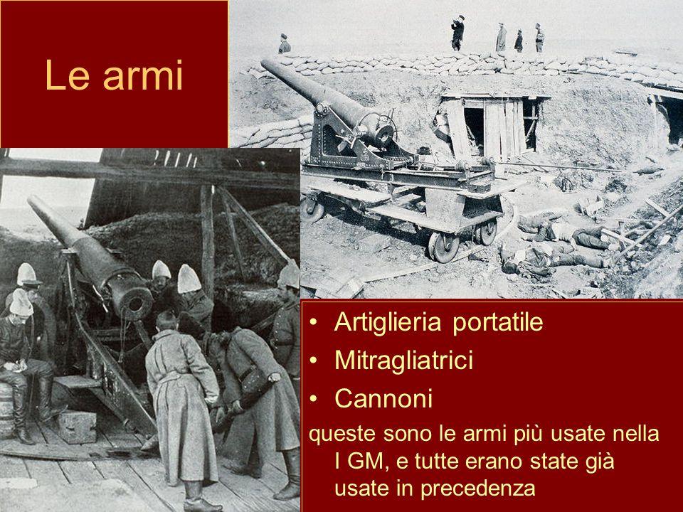 Le armi Artiglieria portatile Mitragliatrici Cannoni