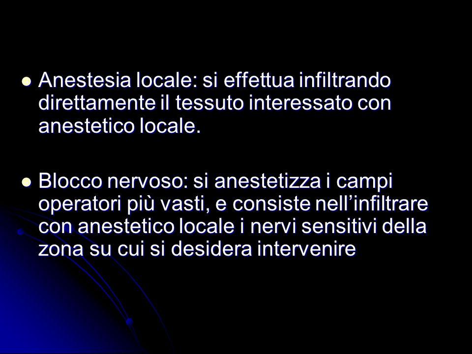 Anestesia locale: si effettua infiltrando direttamente il tessuto interessato con anestetico locale.