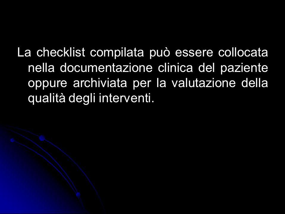La checklist compilata può essere collocata nella documentazione clinica del paziente oppure archiviata per la valutazione della qualità degli interventi.