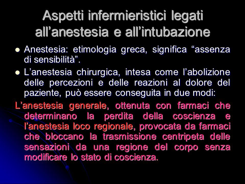 Aspetti infermieristici legati all'anestesia e all'intubazione