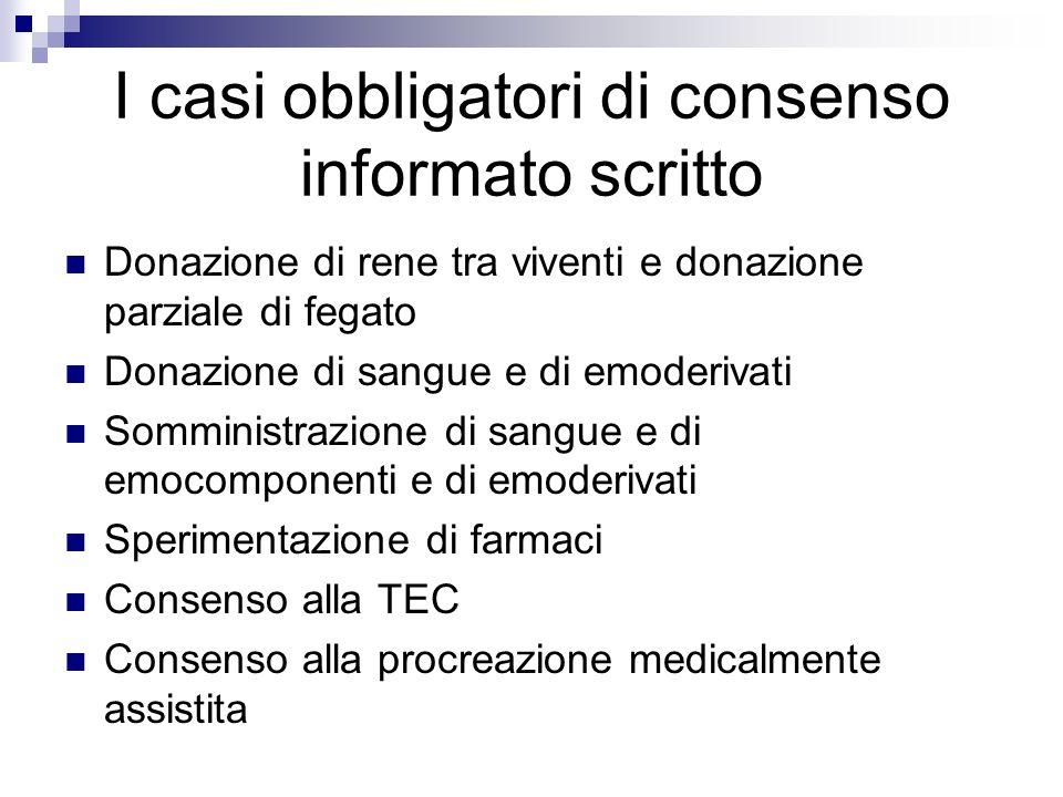 I casi obbligatori di consenso informato scritto
