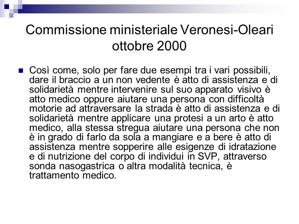 Commissione ministeriale Veronesi-Oleari ottobre 2000