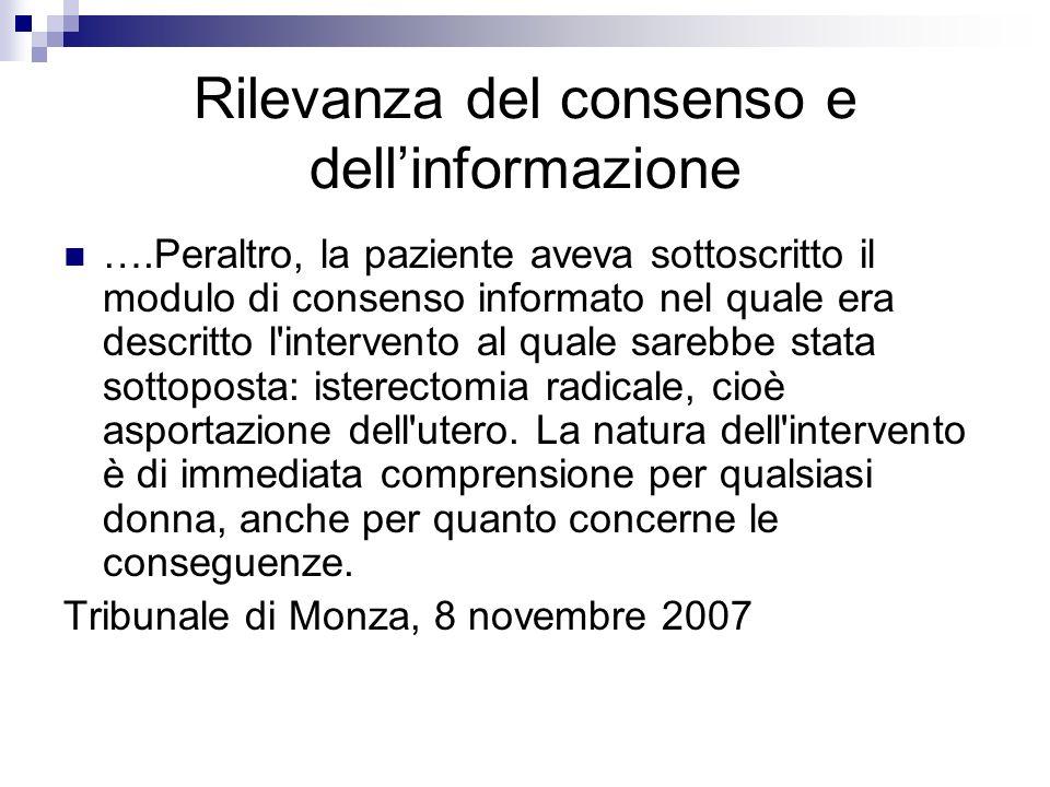 Rilevanza del consenso e dell'informazione