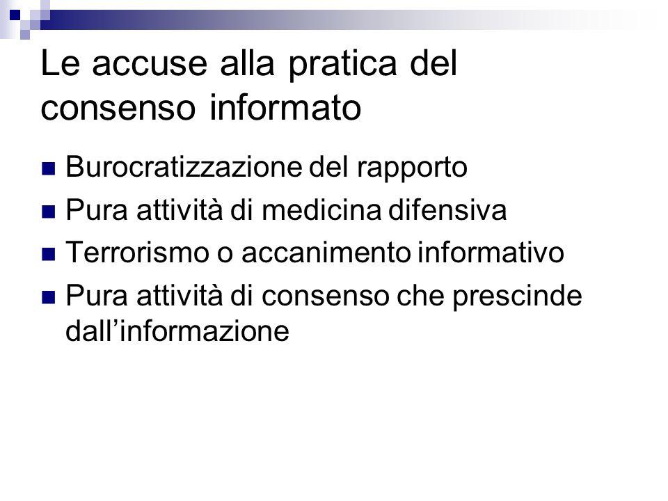 Le accuse alla pratica del consenso informato