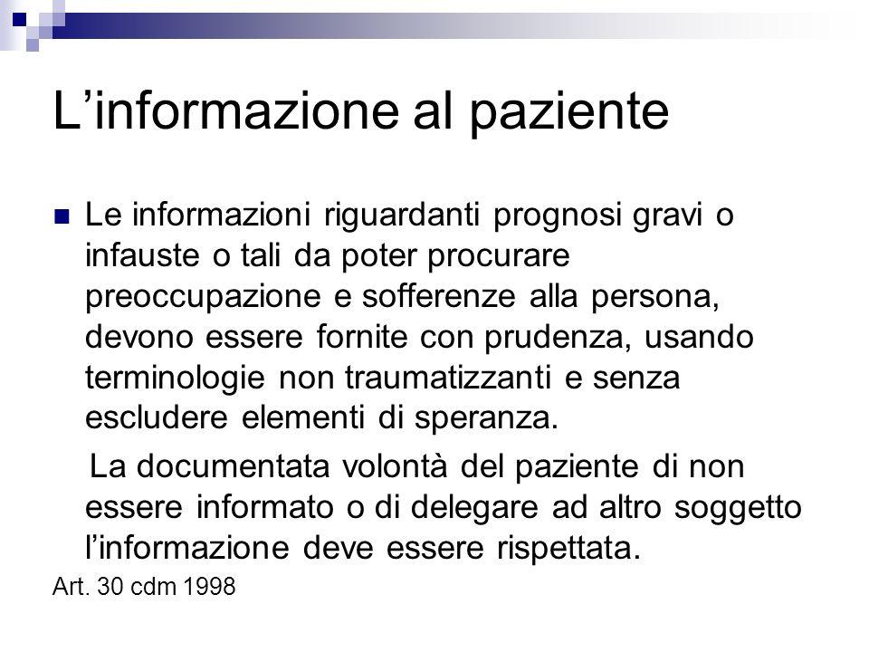 L'informazione al paziente