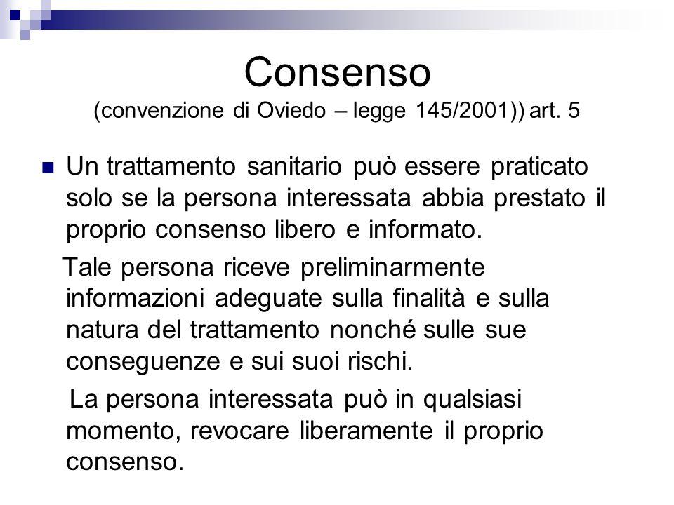 Consenso (convenzione di Oviedo – legge 145/2001)) art. 5