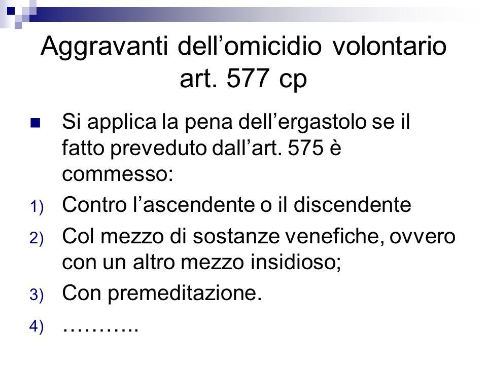 Aggravanti dell'omicidio volontario art. 577 cp