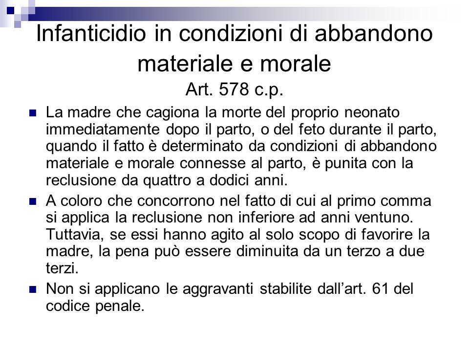 Infanticidio in condizioni di abbandono materiale e morale Art. 578 c