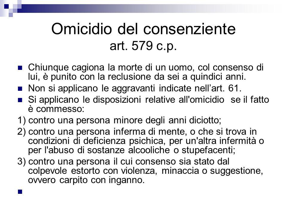 Omicidio del consenziente art. 579 c.p.