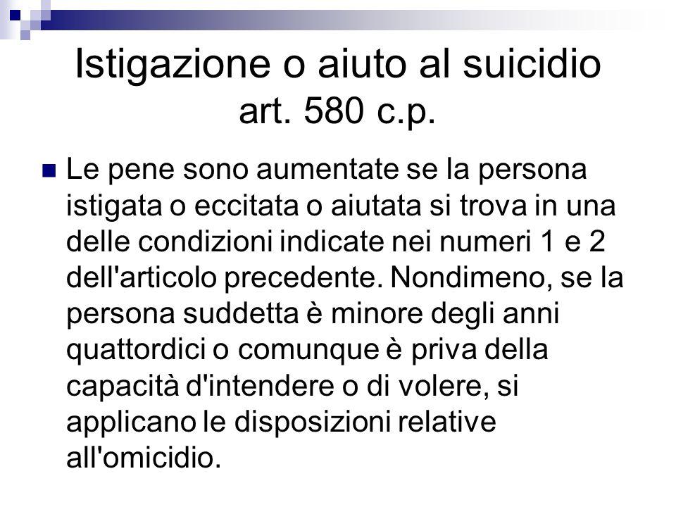 Istigazione o aiuto al suicidio art. 580 c.p.