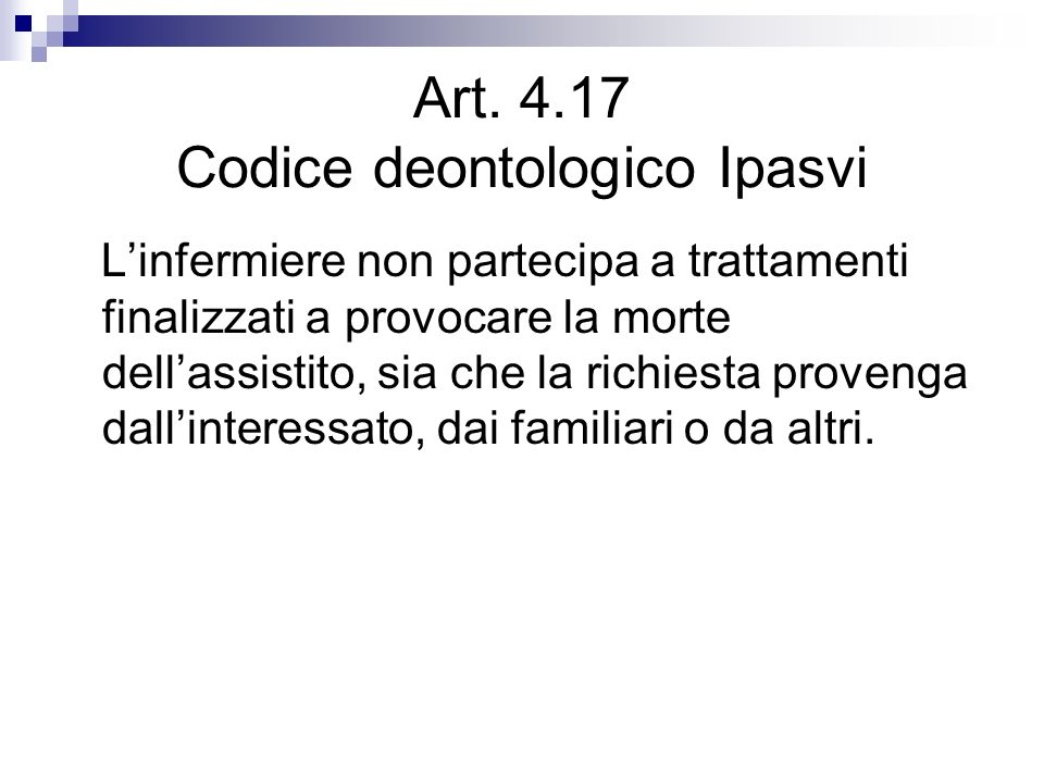 Art. 4.17 Codice deontologico Ipasvi