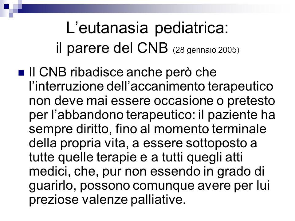 L'eutanasia pediatrica: il parere del CNB (28 gennaio 2005)