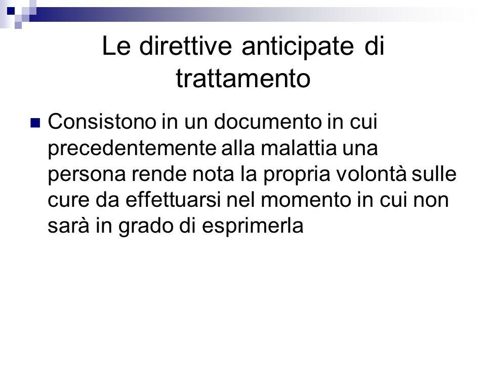 Le direttive anticipate di trattamento
