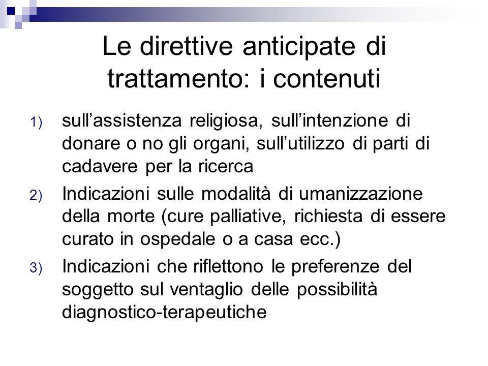 Le direttive anticipate di trattamento: i contenuti