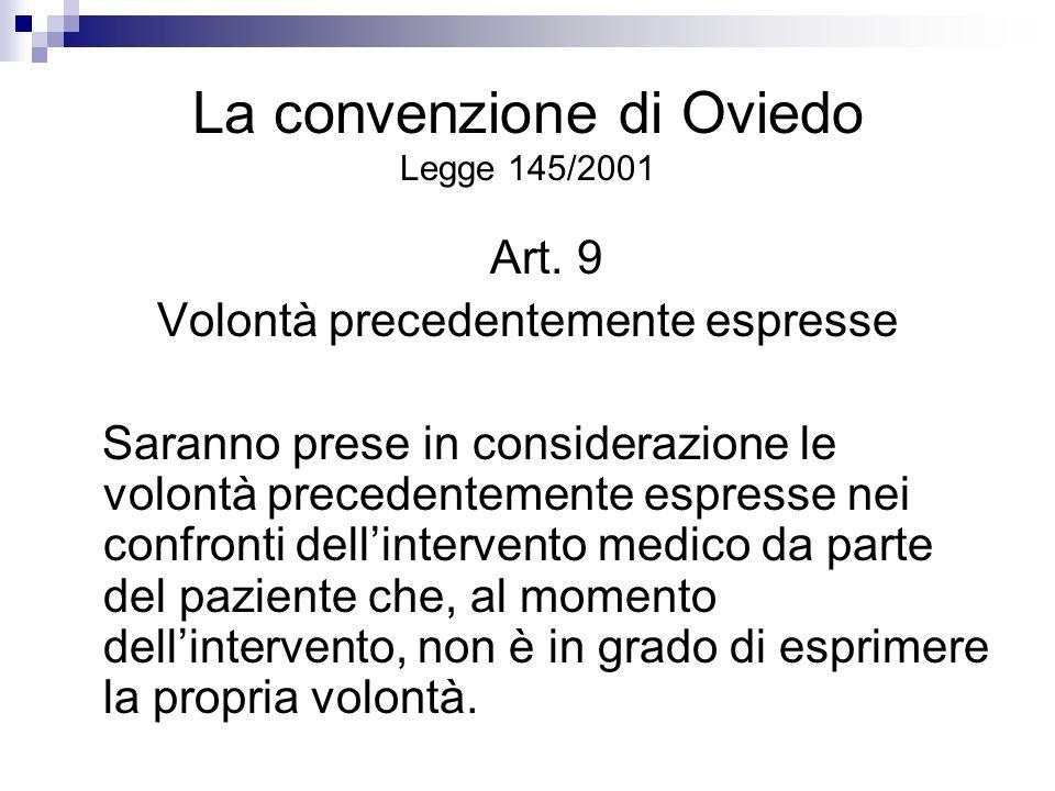 La convenzione di Oviedo Legge 145/2001