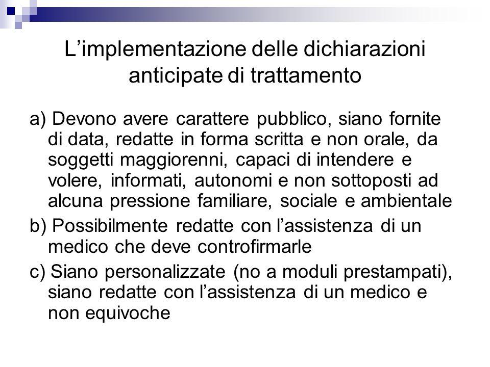 L'implementazione delle dichiarazioni anticipate di trattamento