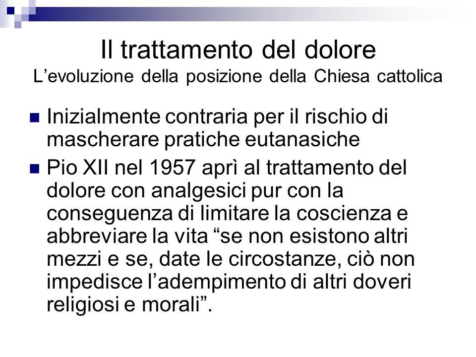 Il trattamento del dolore L'evoluzione della posizione della Chiesa cattolica