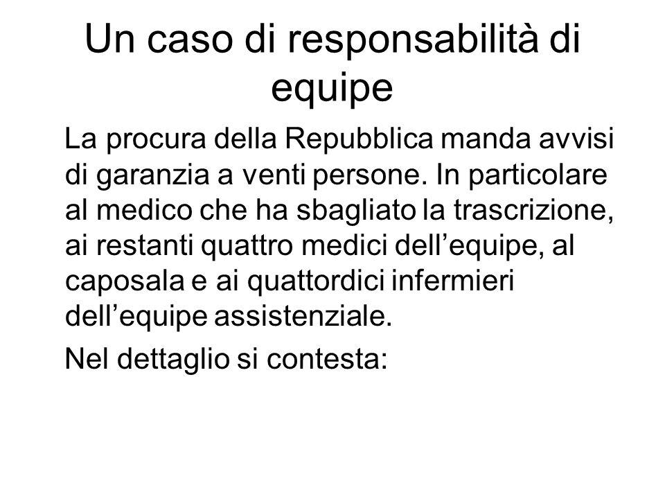 Un caso di responsabilità di equipe