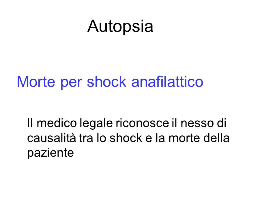 Autopsia Morte per shock anafilattico