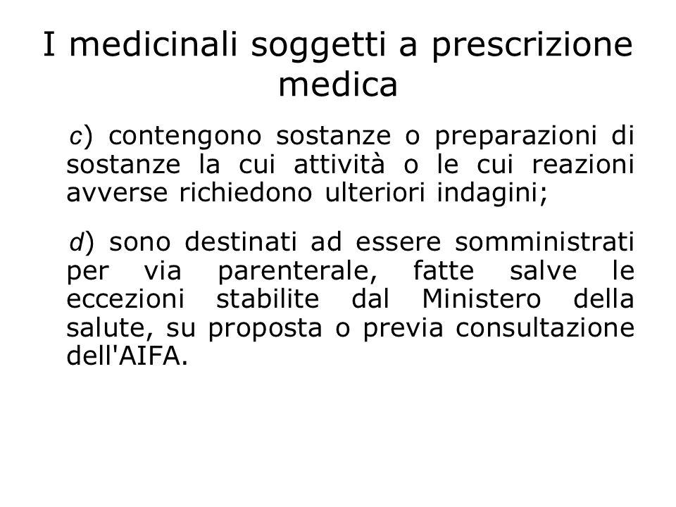 I medicinali soggetti a prescrizione medica