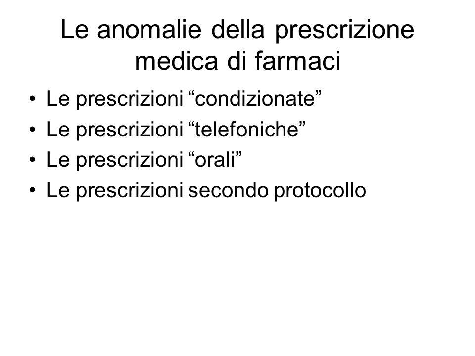 Le anomalie della prescrizione medica di farmaci