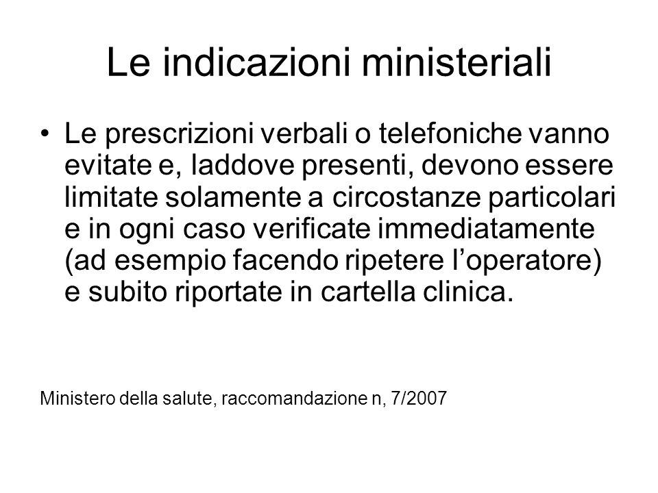 Le indicazioni ministeriali