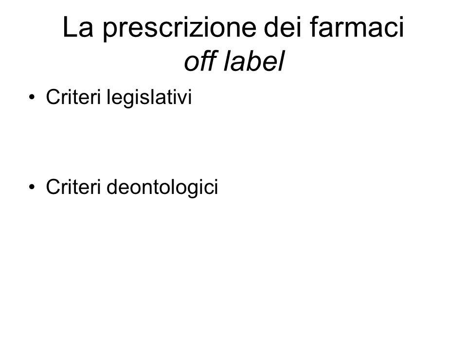 La prescrizione dei farmaci off label
