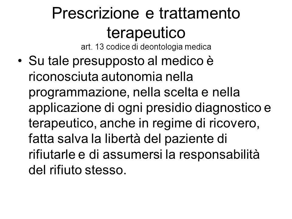 Prescrizione e trattamento terapeutico art