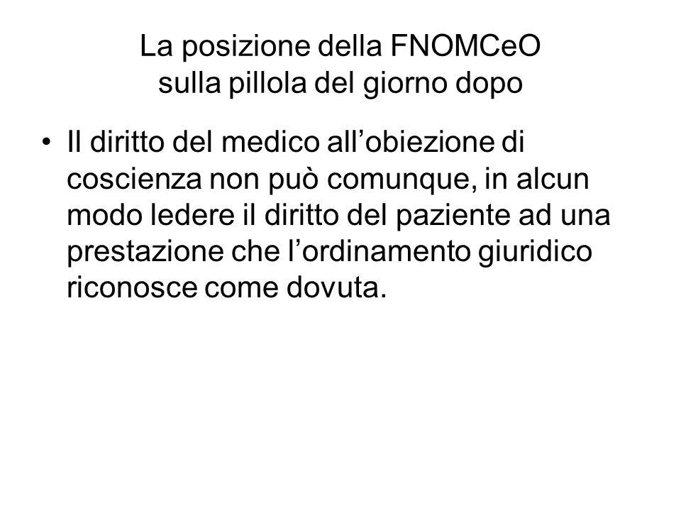 La posizione della FNOMCeO sulla pillola del giorno dopo