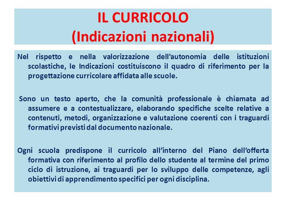 IL CURRICOLO (Indicazioni nazionali)